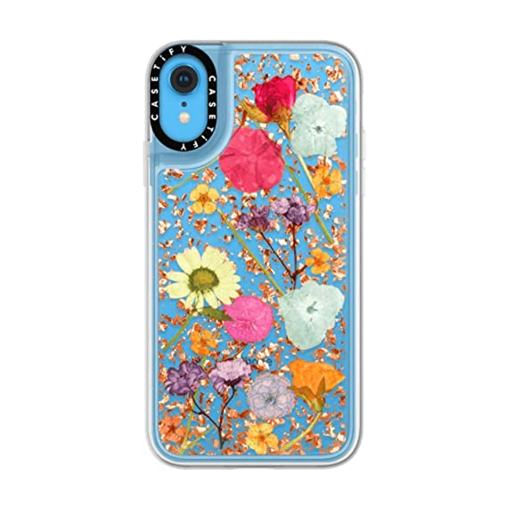 official photos 9f305 13a60 Casetify Real Flower iPhone XR Case Pressed Dried Flowers with Rose Gold  Foil Flake Hard Back Cover and Frost Shockproof Drop Proof Bumper and ...