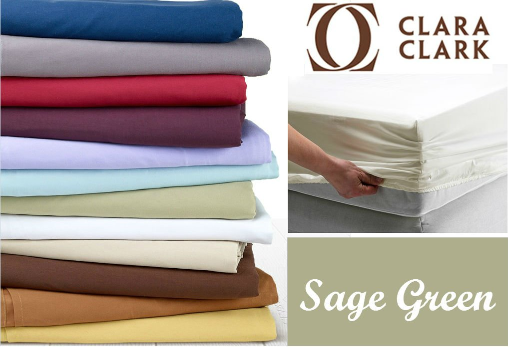 Clara Clark Premier 1800 Collection Single Fitted Sheet, Full (Double), Sage Green