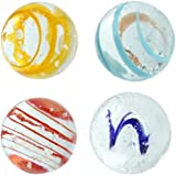 "16mm Handmade Art Glass Glow in the Dark ""Moonstone"" Marbles Pack of 4 w/Stands"
