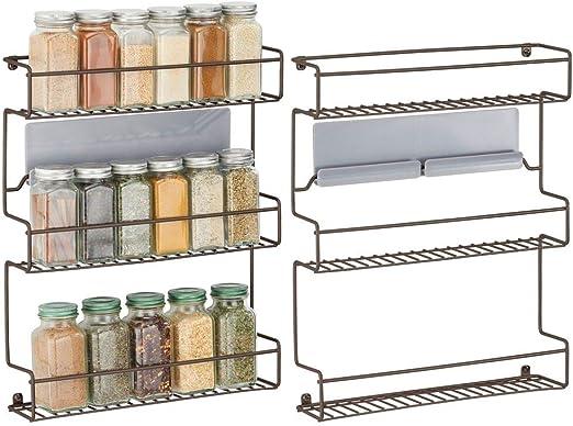 mDesign Juego de 2 especieros de Cocina – Estantería metálica autoadhesiva con 3 Niveles para Montaje en Pared – Ideal como Organizador de Especias para la Cocina y la despensa – Color Bronce: Amazon.es: Hogar