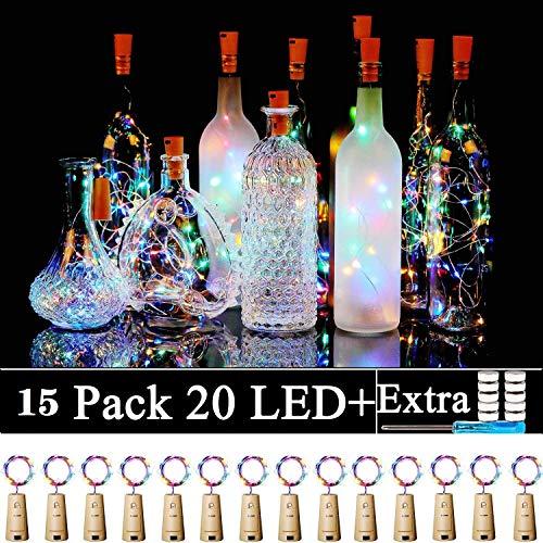 Bottle Lights, 15 Pack 2M 20 LEDs Battery Operated Wine Lights with Cork LED String Lights for DIY Bedrooms Parties…