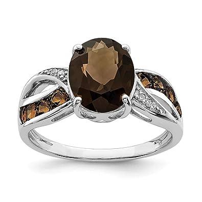 Amazon Com 925 Sterling Silver Diamond Smoky Quartz Band Ring Stone