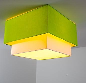 Deckenleuchte 2 Flammig Aus Stoff Grün/weiß U2013 Eckige Zimmerlampe Für  Schlafzimmer U2013 Wohnzimmer