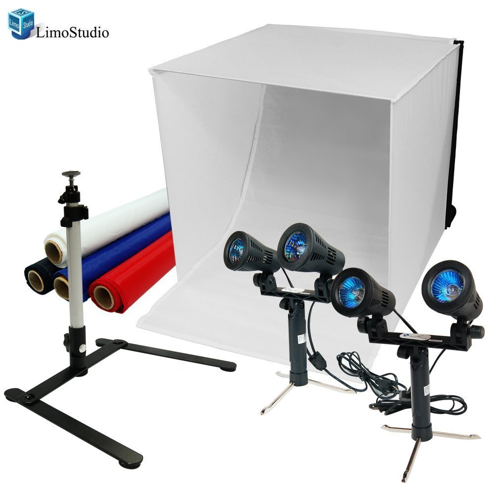 LimoStudio 24'' Table Top Photography Studio Light Tent Kit in a Box - Photo Tent, 2x Double Head Light Set, Mini Camera Stand, 2x GU10 Light Bulbs, AGG903