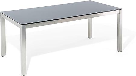 Beliani - Table de Jardin - Grosseto - Plateau en Verre, 180 ...