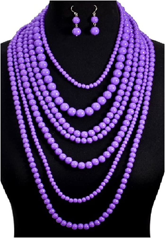Moon Girl Fashion 5 color big statement Multilayer long necklace beads for jewelry making display Bohemia choker necklace women (5)