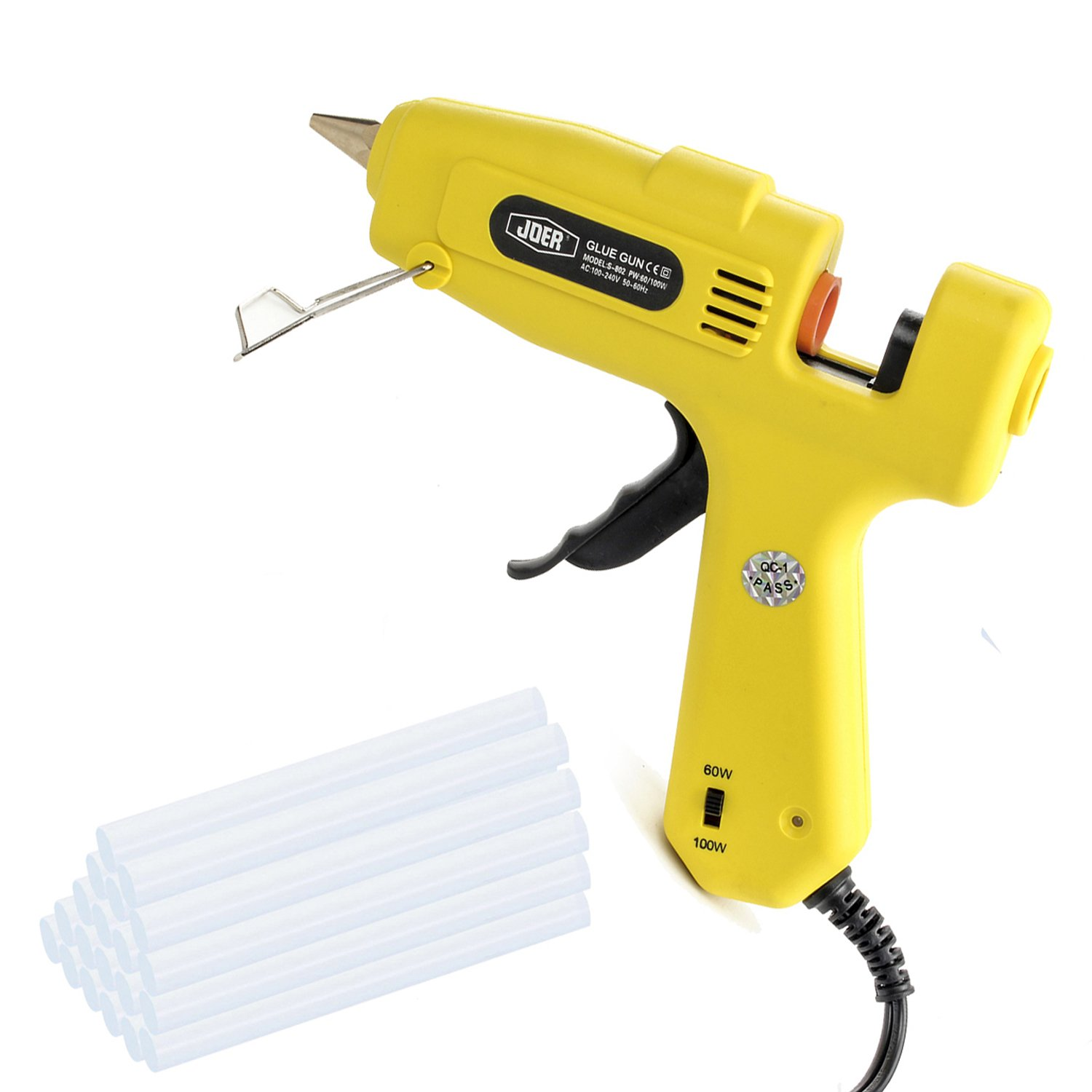 Glue Gun, 60W/100W Dual Power High Temperature Hot Melt Glue Gun Kit with 20 pcs Long Size Glue Sticks (0.43'' x 8