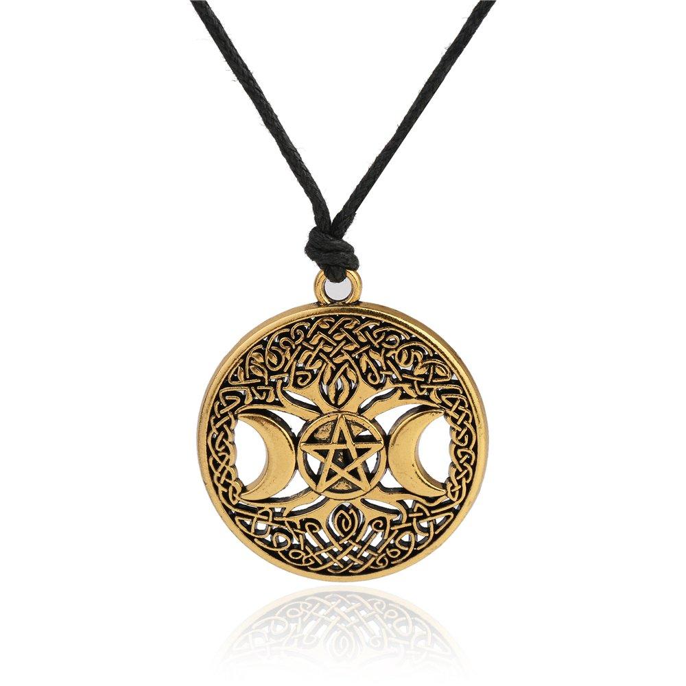 fishhook Wicca Halskette mit Anhä nger Baum des Lebens Dreifachmond Godness irischer Knoten hohl GeXiang