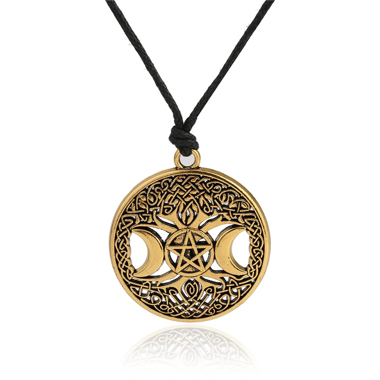 Wicca Vintage Tree of Life Triple Moon Godness Irish Knot Hollow Pendant Necklace Jewelry