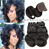 Cheap Peruvian Body Wave Human Hair with Lace Closure 4 Bundles 50g/PCS Body Wave with Lace Closure Peruvian Hair Weave Bundles Full Head Natural Color 8″10″12″12″with 12″closure