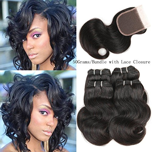 Peruvian Body Wave Human Hair with Lace Closure 4 Bundles 50g/PCS Body Wave with Lace Closure Peruvian Hair Weave Bundles Full Head Natural Color 8