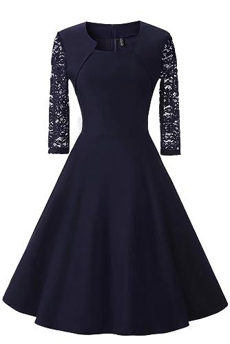 LanierWedding Women's Vintage 50s Floral Lace Cocktail Dress Square Neck 3/4 Sleeve Short Prom Dress...