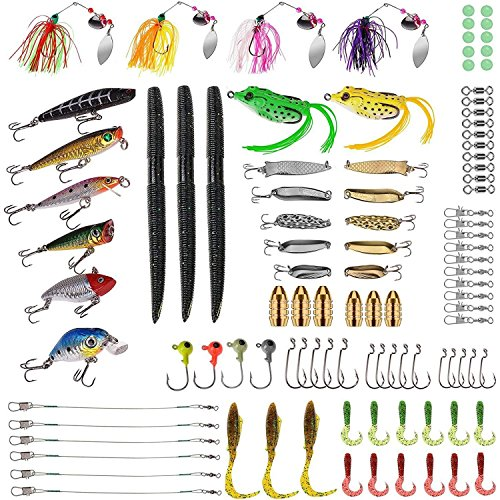 PLUSINNO Fishing Lures Baits Tackle including Crankbaits, Spinnerbaits, Plastic worms, Jigs, Topwater Lures , Tackle Box and More Fishing Gear Lures Kit Set, 102Pcs Fishing Lure Tackle