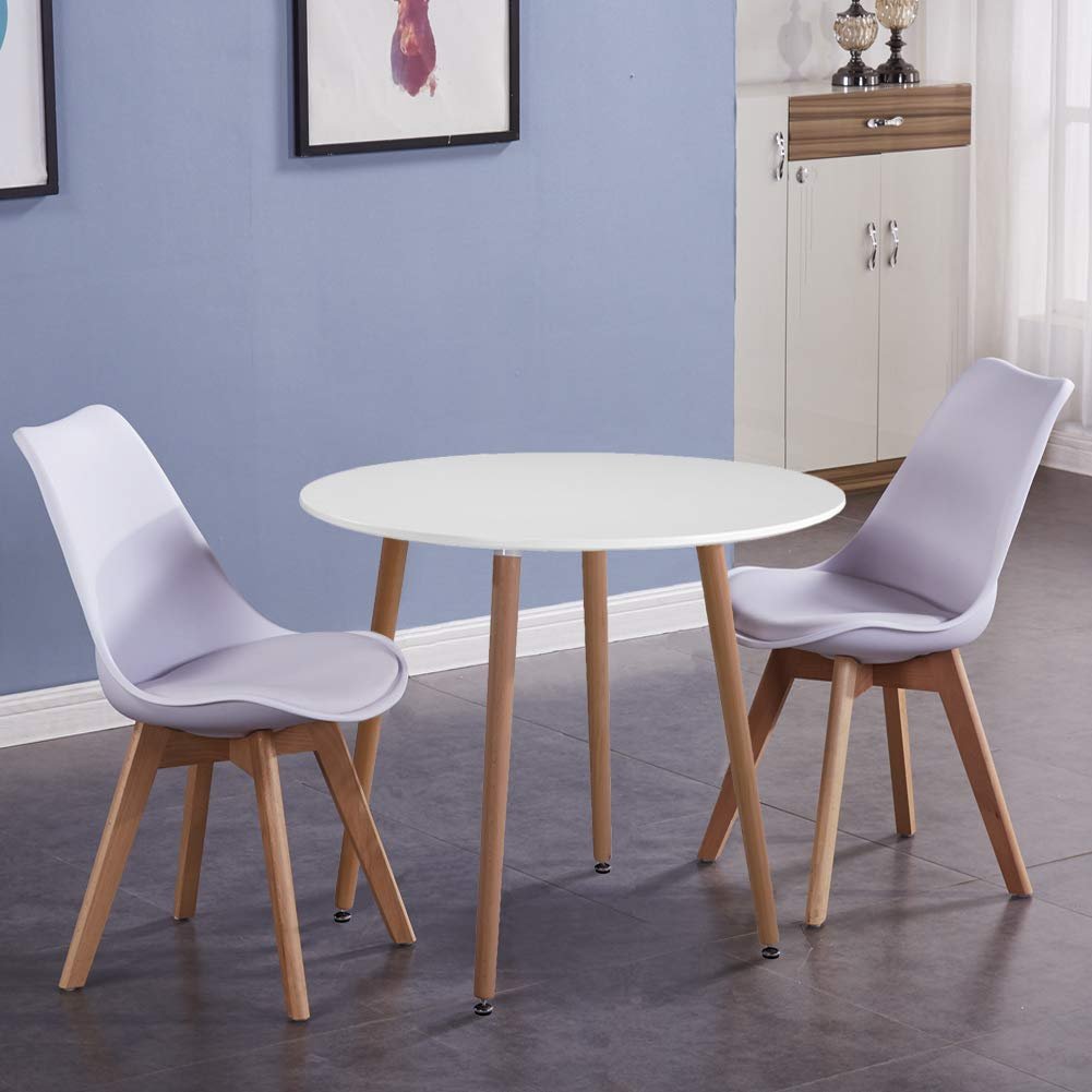 Goldfan Dining Table And 2 Chairs Kitchen Table Tulip Dining Chairs Wooden Round Table And Soft Padded Leather Chairs White Buy Online In United Arab Emirates At Desertcart Ae Productid 132289920