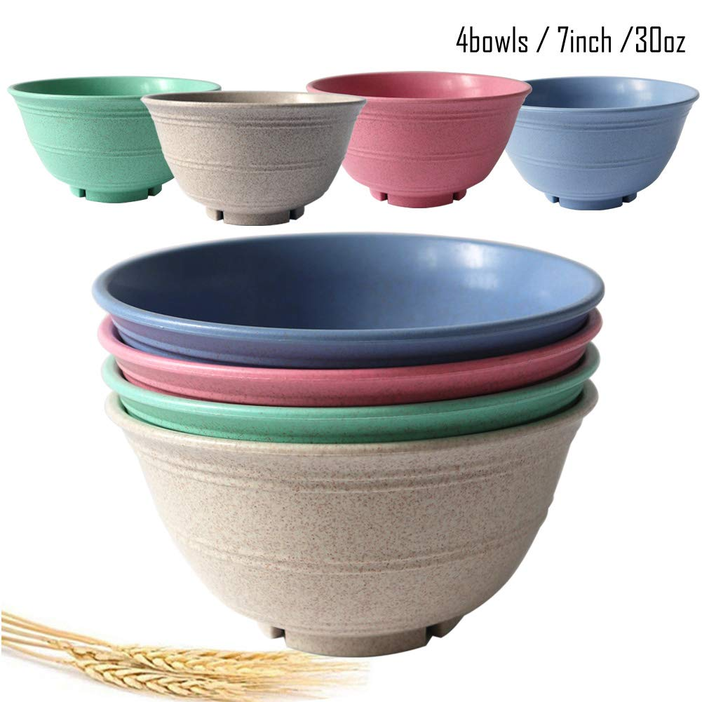 4 pcs, 4 Color OWXINI Super Cereal//Snack//Soup Bowls,7 inch,30 oz,Set of 4,Wheat Straw Fiber Dishwasher /& Microwave SafeEco-Friendly,Lightweight