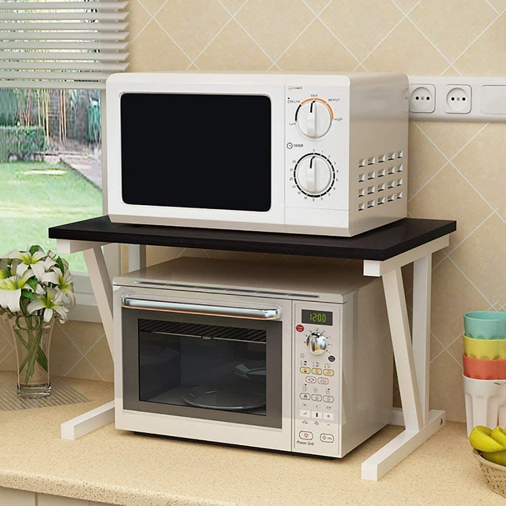 Organizer for kitchen shelves and kitchen shelf for stove tops with microwave ovenat 2 levels, 57x38x37cm (color: B)