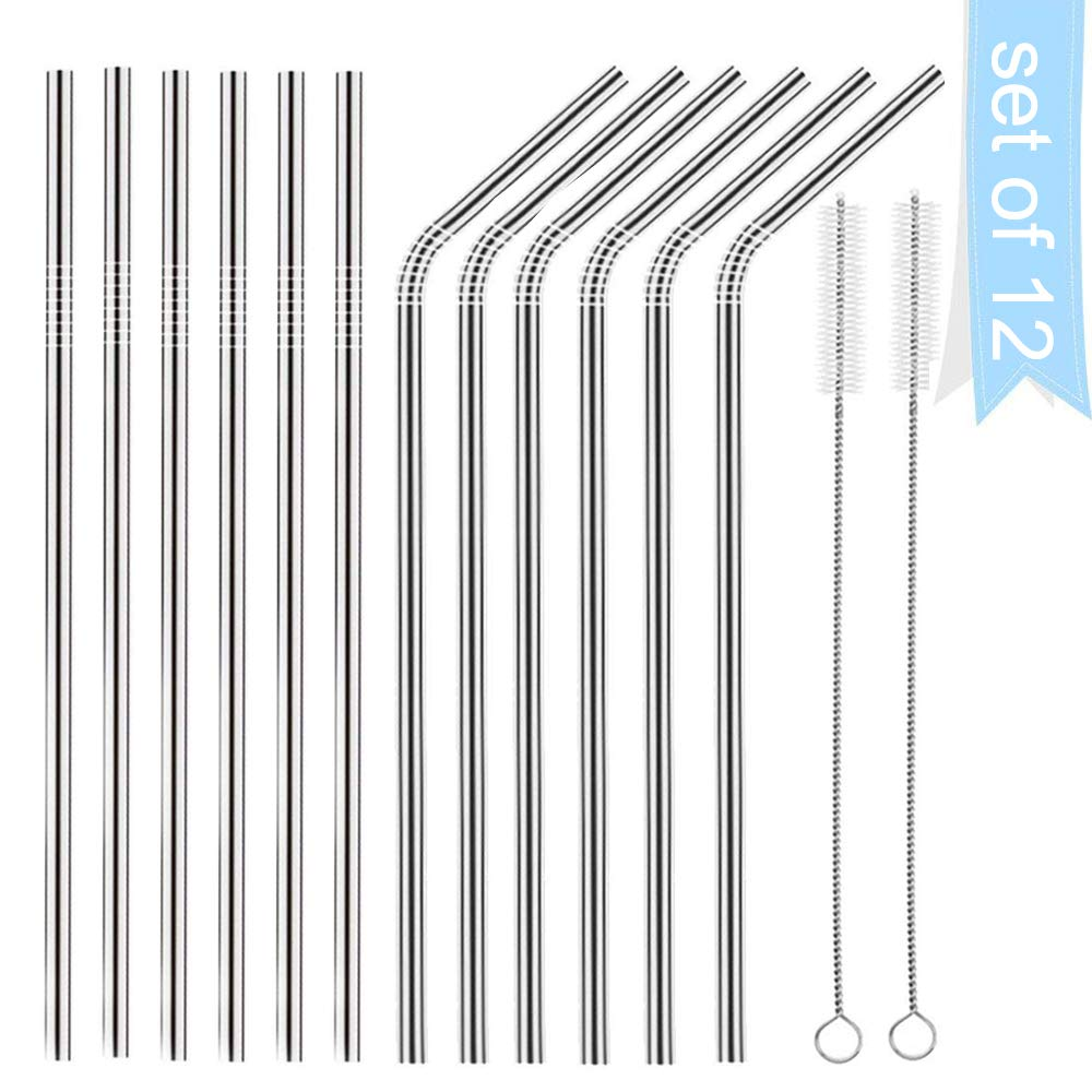 Stainless Steel Straws,CHIOINS Set of 12 Stainless Steel Straws Ultra Long 10.5 Inch Drinking Metal Straws For Tumblers Rumblers Cold Beverage (set ot 8)