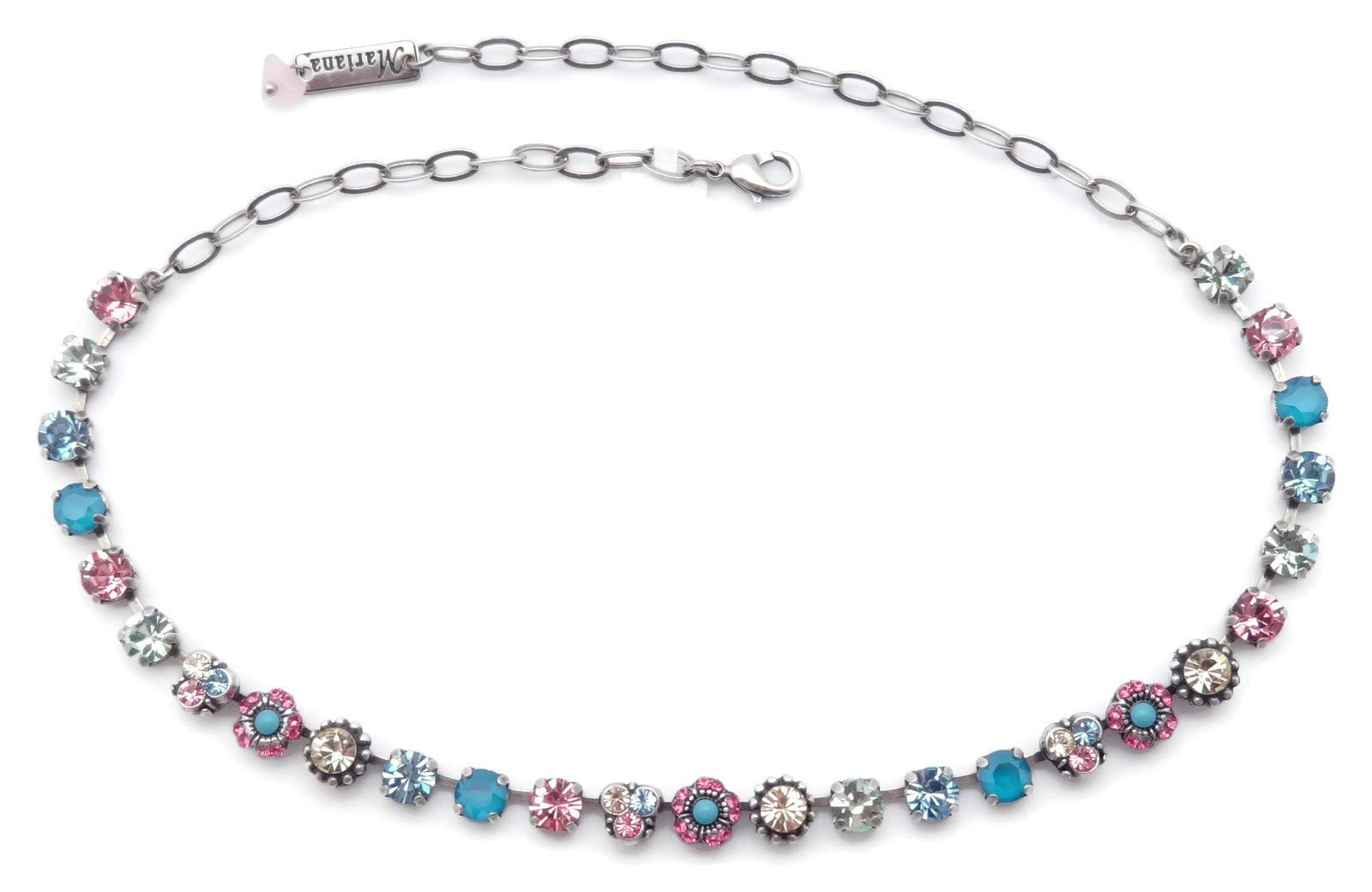 Mariana Spring Flowers Swarovski Crystal Silvertone Necklace Blue Pink Yellow Green Mix Mosaic 125 by Mariana (Image #2)