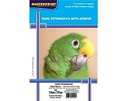 Masterprint 302010074, Papel Fotografico Inkjet A4 Glossy Adesivo 115G, Branco, Pacote Com 20