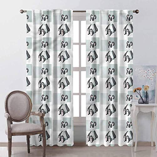 GUUVOR Panda All Season Insulation Teddy Bear Toy Pattern Cub Noise Reduction Curtain Panel Living Room W84 x L84 Inch