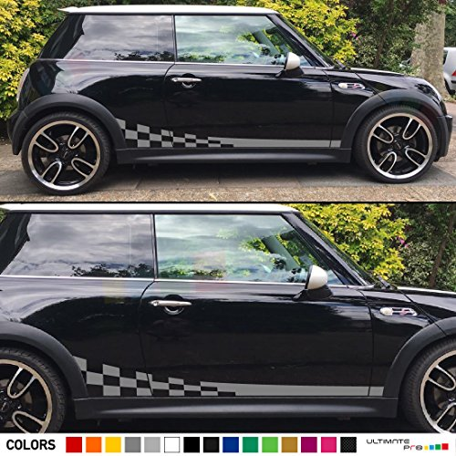 2x Side Wavy Checkered Flag Stripes Decal Sticker Vinyl Kit Compatible with Mini Cooper Hatch Hardtop 2001-2016