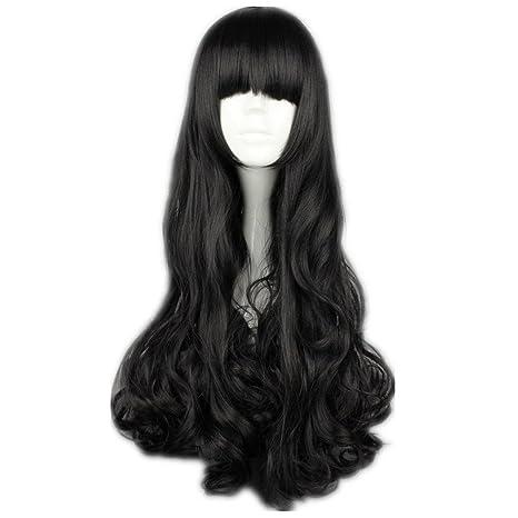 COSPLAZA Cosplay disfraz Wigs Peluca Blake Belladonna negra 70 cm larga ondulada Black Glamour Halloween Party