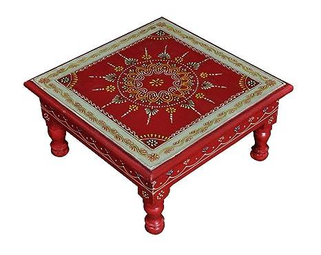 Dipinto a mano sgabello di legno pouf colore rosso tavolino 28 x 28