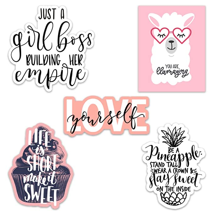 Cute Girl Inspirational/Motivational Quote Aesthetic Vinyl Stickers for Laptops and Water Bottles (Inspirational Quotes) best motivational laptop stickers