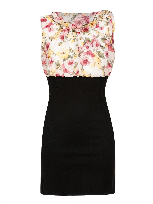 Laeticia Dreams Damen Chiffon Kleid Sommerkleid Abendkleid Blumenmuster S M L