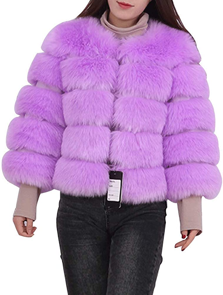 Womens Thick Winter Outerwear Coat Fashion Soft Short Fox Faux Fur Warm Jacket