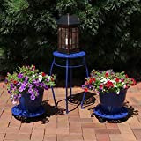 Sunnydaze 5-Piece Cast Iron Planter, Caddy and Plant Stand Set, Dark Blue