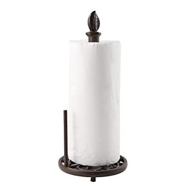 Vintage Metal Paper Towel Holder Brown Cast Iron Roll Paper Towel Stand for Kitchen Bathroom Home Decor