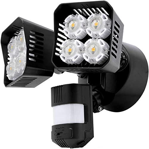 Upgraded SANSI LED Security Motion Sensor Outdoor Lights, 36W 250W Incandescent Equivalent 3600lm, 5000K Daylight, Dusk to Dawn Waterproof Flood Light, ETL Listed, Black