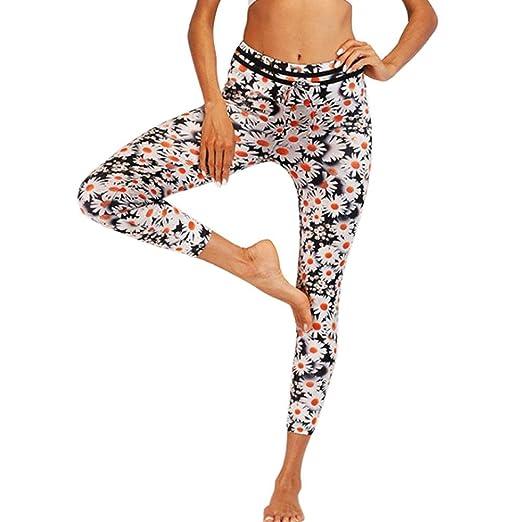 09f1cc9dfb7317 Women's Daisy Print Yoga Pants, E-Scenery High Waist Leggings Tummy Control  Workout Running