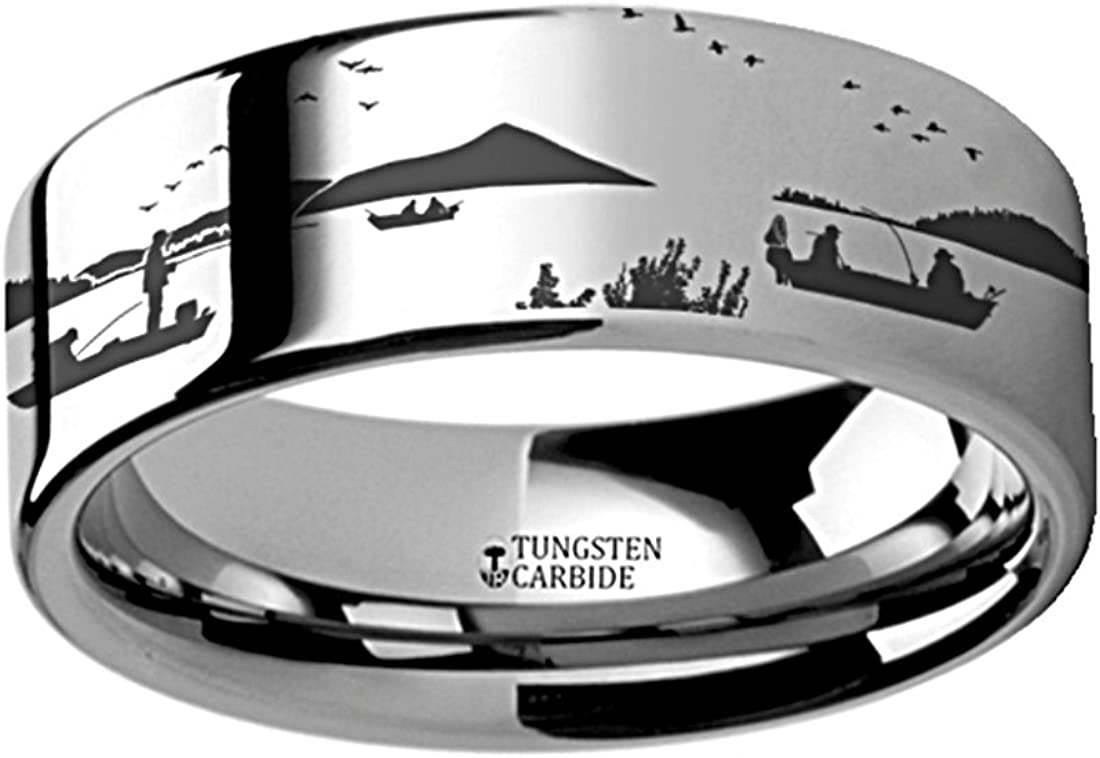 Thorsten Outdoor Sports Fishing Fisherman in Boat on Lake Print Pattern Ring Polished Tungsten Ring 12mm Wide Wedding Band from Roy Rose Jewelry