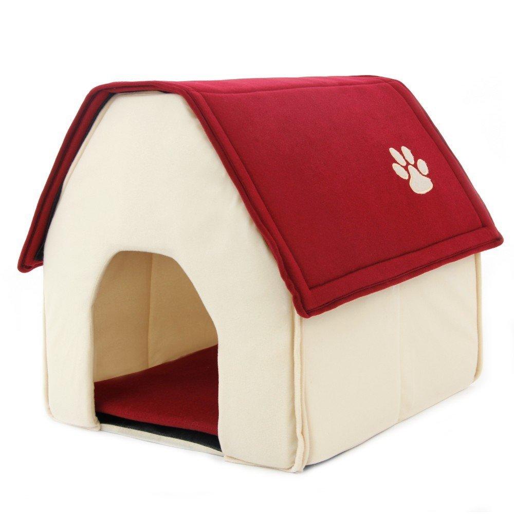 Cama caseta plegable textura suave para mascotas color rojo
