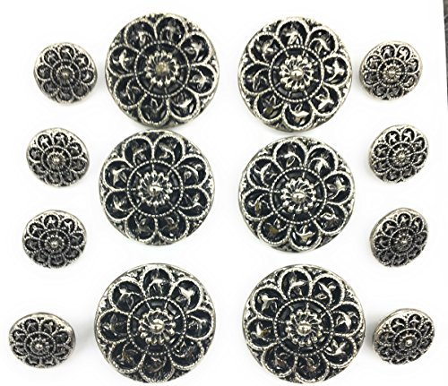 (Crest Sliver Buttons Set blacken For Antique Look for Blazer,dress and Suits 14pc.)