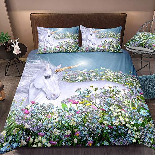 Merryword White Unicorn Bedding Rose Flowers Horse Duvet Cover Set Rose Girls Quilt Cover with Zipper Ties Queen 1 Duvet Cover 2 Pillowcases (Unicorn 1)