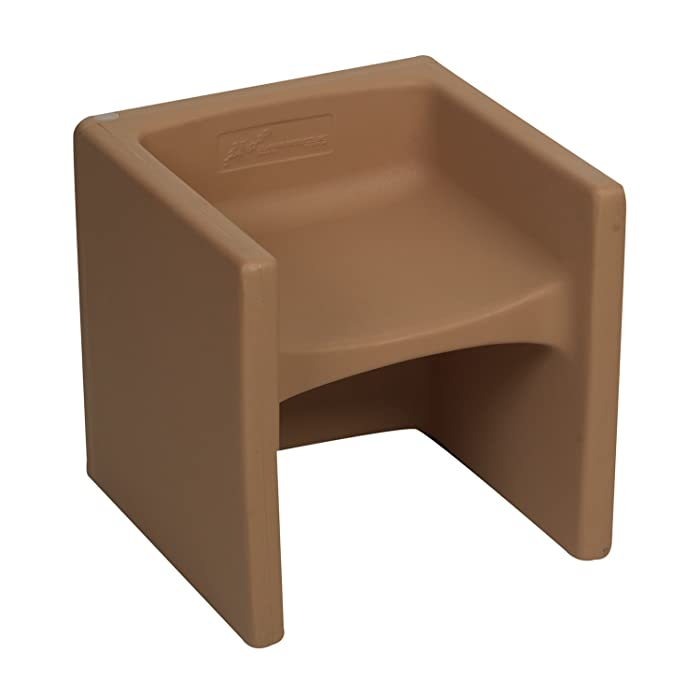 Children's Factory Cube Chair for Kids, Flexible Seating Classroom Furniture for Daycare/Playroom/Homeschool, Indoor/Outdoor Toddler Chair, Almond (CF910-015)