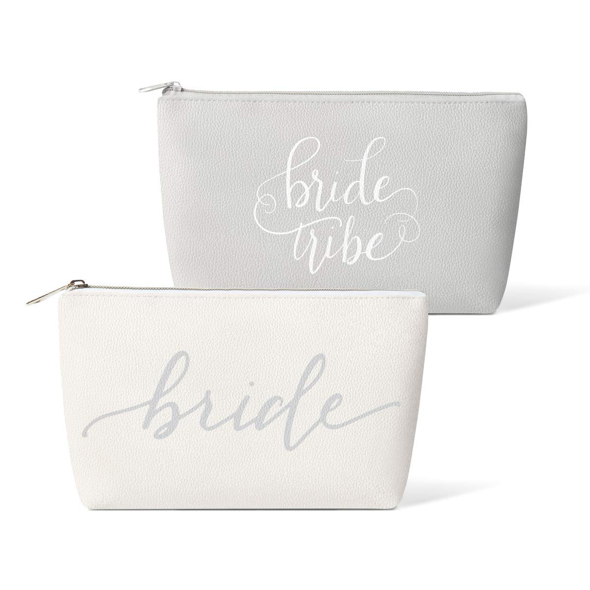 Bridal Party + Bride Makeup Bags – 11 pc Gift Set - Leather Cosmetic Bags for Bachelorette Parties, Weddings, Bridal Showers (Bride Tribe, Grey)
