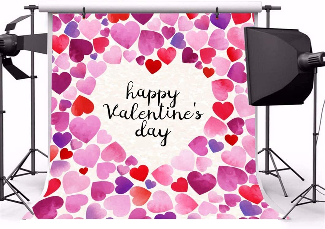 Laeacco 6.5x6.5ft Happy Valentines Day Backdrop Vinyl Sweety Pink Purple Tone Heart Watercolor Painting Heart Shape Frame Background Lovers Portrait Shoot Wedding Proposal Wallpaper