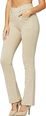 Amazon Com Pantalones De Vestir Elasticos De Alta Calidad Para Mujer Con Bolsillos Para Llevar Al Trabajo Talla Regular Y Grande Clothing