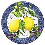 CounterArt Lemons & Olives Glass Lazy Susan Serving Plate, 13''