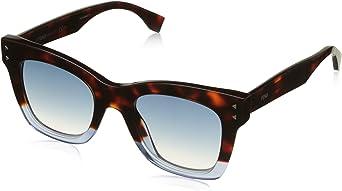 FENDI FF 0237/S 08 IPR Gafas de sol, Azul (Havana Blue/Dark Blue Sf), 49 para Mujer