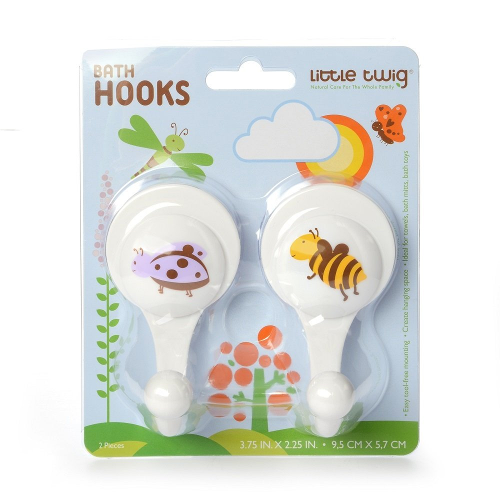 Amazon.com: Little Twig Bath 2 Hooks, Ladybug/Bumble Bee/White, 2 Count: Health & Personal Care