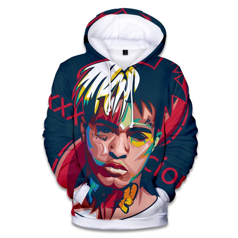 VOSTE Xxxtentacion Hoodie 3D Printed Hooded Pullover Sweatshirt (Medium, Color 1)