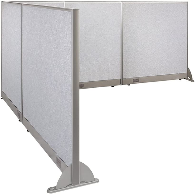 """GOF Freestanding L Shaped Office Partition, Large Fabric Room Divider Panel, 96""""D x 120""""W x 48""""H"""