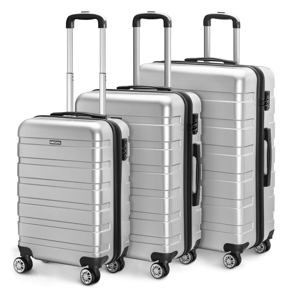 Amasava Valise Transport Bagage Cabine Valise en PC Ultra léger 5 Couleurs Valise Rigide 4 roulettes Double multidirectionnelles 43L/55CM,Argent