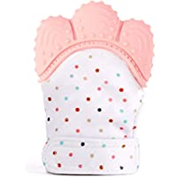 Baby Teething Mittens, BPA Free Food Grade Teething Glove for Baby, Smiling Teething Toys Mitten, Self-Soothing Stand on Hand mitt (Pink)