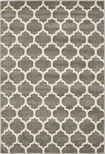 - Unique Loom Trellis Collection Moroccan Lattice Dark Gray Area Rug (4' 0 x 6' 0)